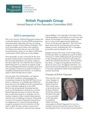 British Pugwash 2013 Annual Report